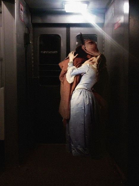 art kissing train cars