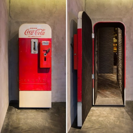 coca cola machine hidden door