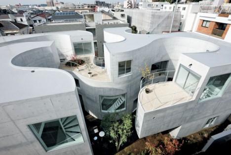 japan apartments undulating courtyard