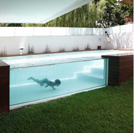 modern pool glass wall wooden deck 2