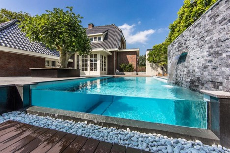 modern pools glass wall waterfall