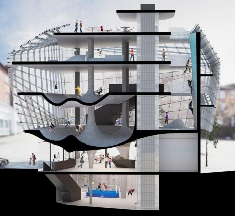 multistory concrete glass skatepark