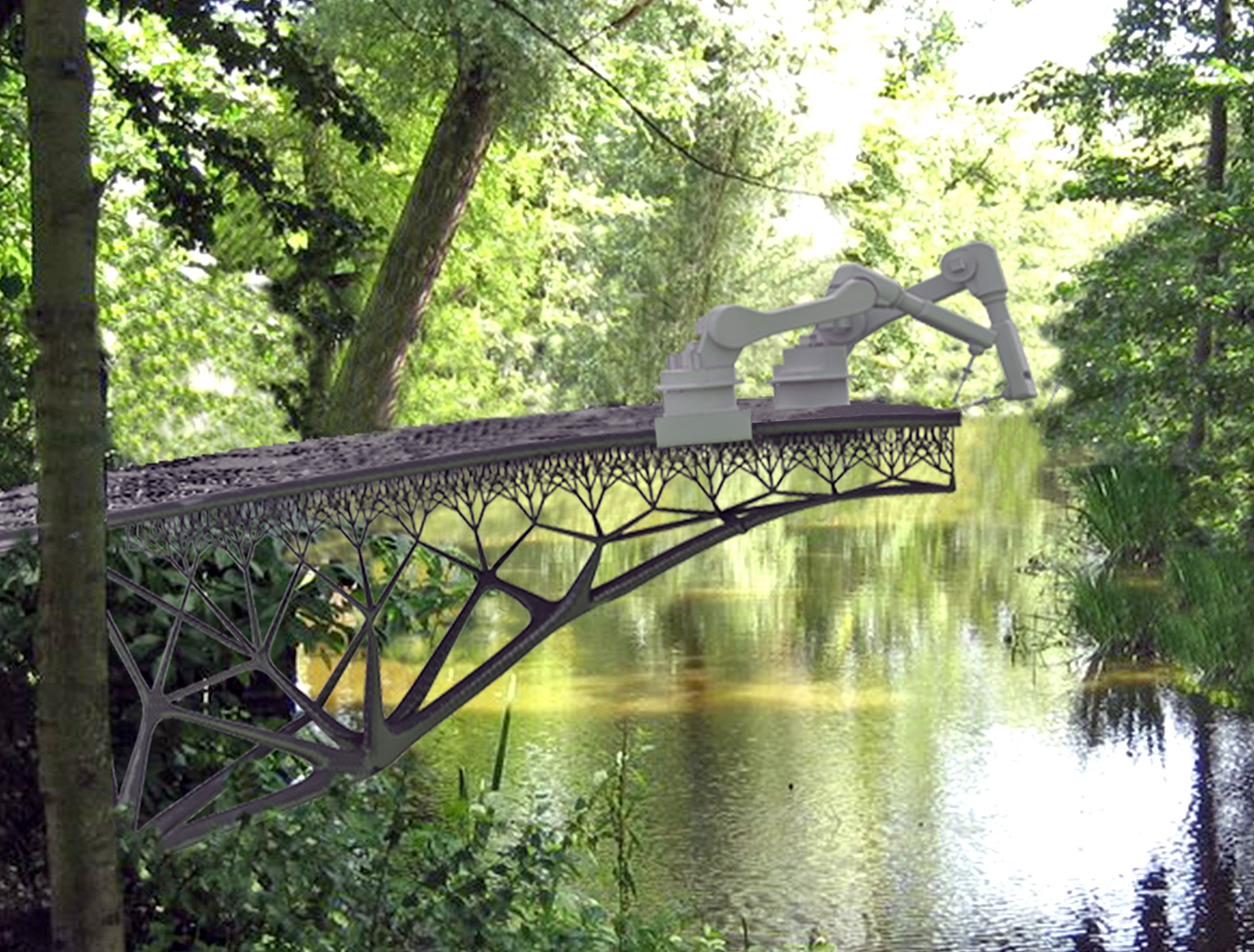 Cast in place steel robots to 3d print metal bridge in for Design bridge amsterdam