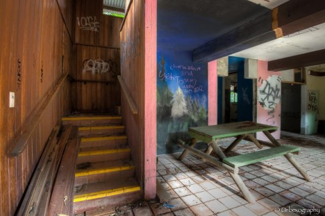abandoned stairs seating