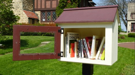 brown house little free library