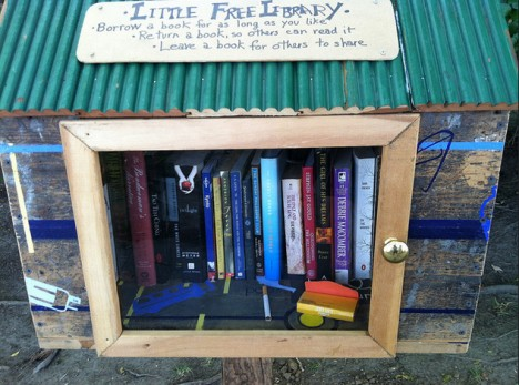 green roofed little free library