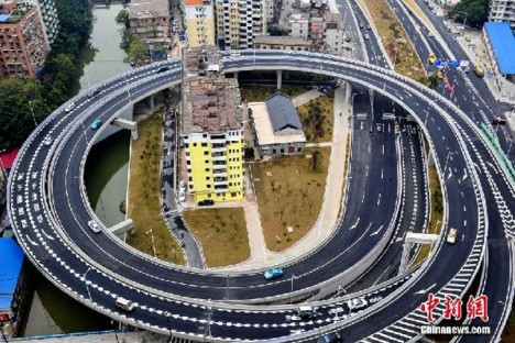 guangzhou houses surrounded by highway