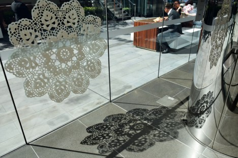 interior public doily installation