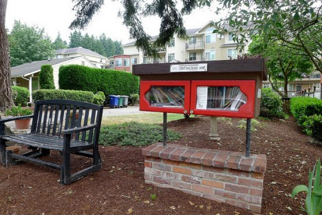 little free library with reading spot