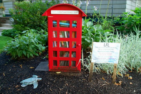 mini phone booth little free library