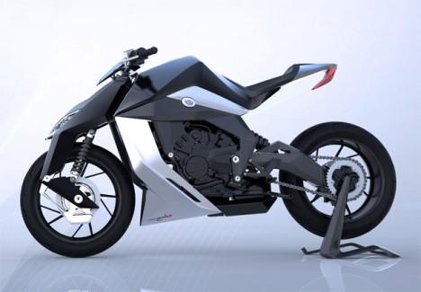 modern motorcycle motorcycles feline sleek super fork yacouba front rides custom enhanced powerful hook shaped lines clean features studio tuvie