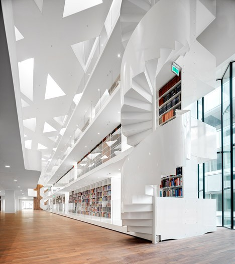 modern stairs glossy library