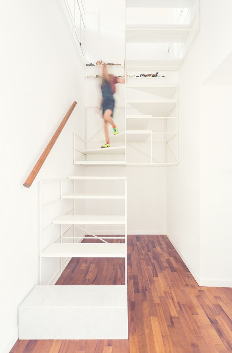 modern stairs partially suspended