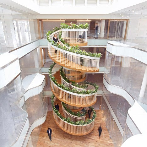 modern stairs planted circle