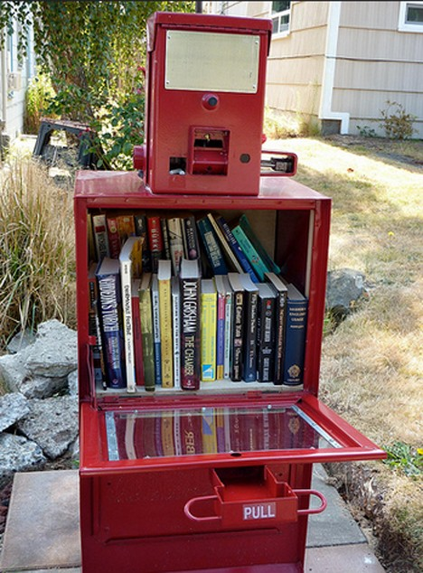 open newspaper box little free library