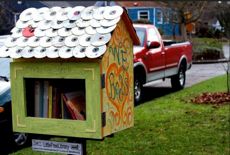 recycled cd roof little free library