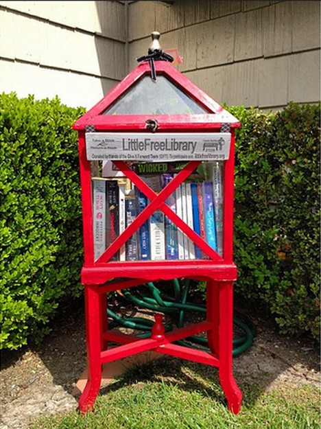 red cabinet little free library