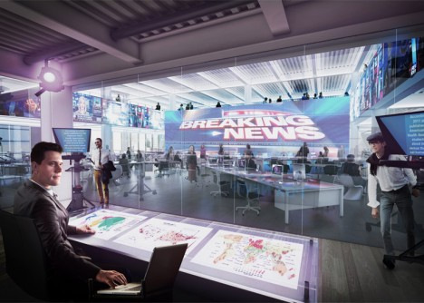 two newsroom open space