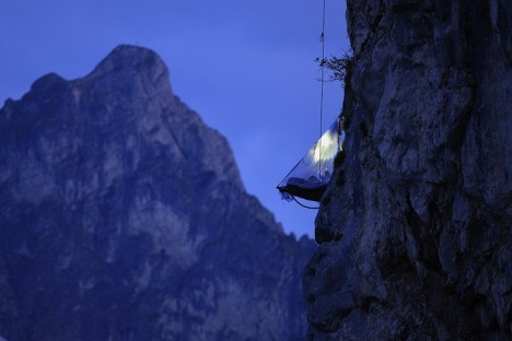 campers hanging cliff