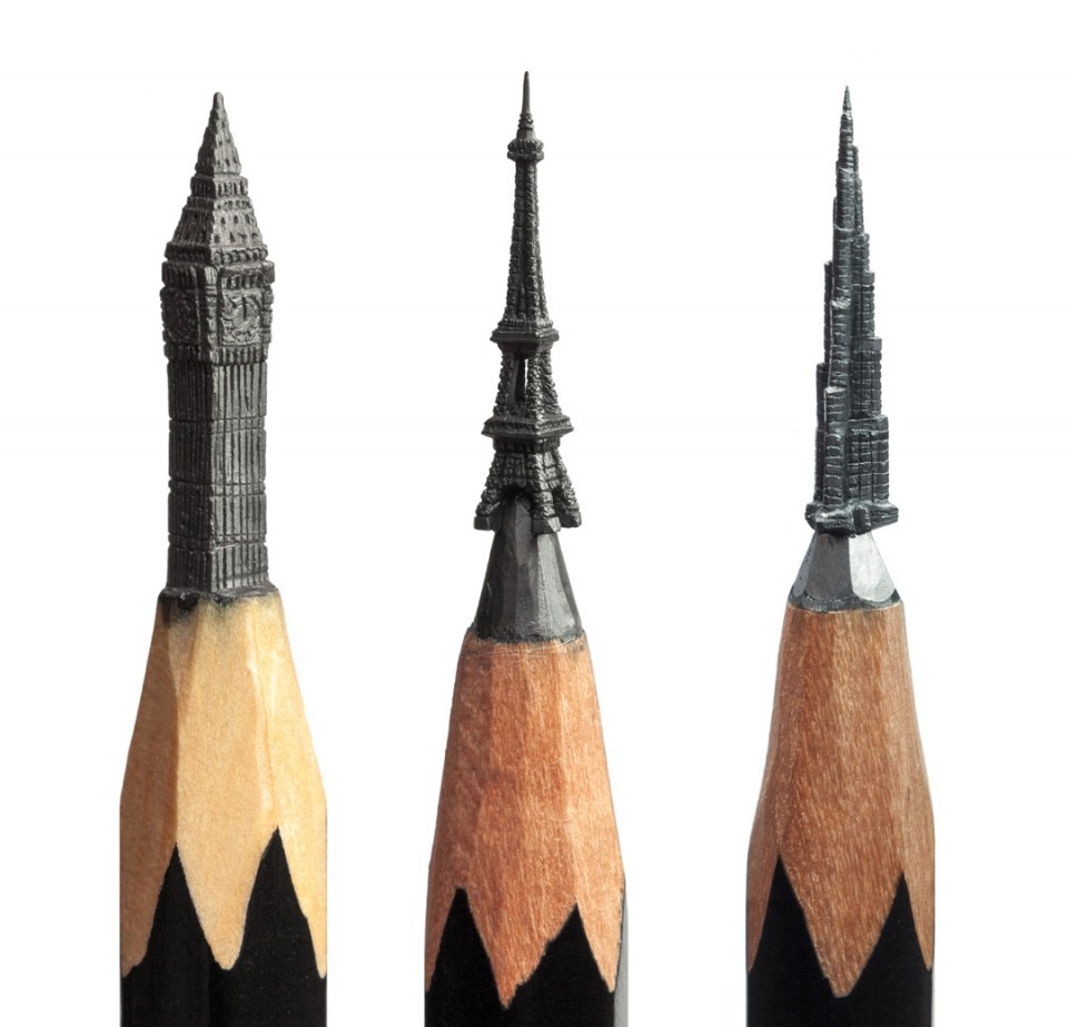 Lead finger incredible miniatures carved out of pencil