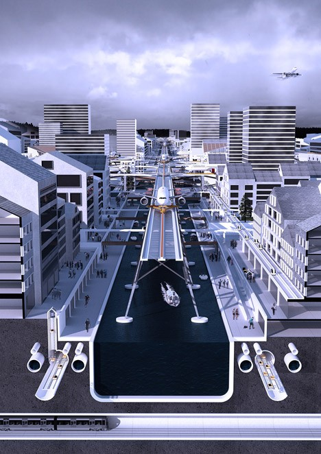 raised plane waterway city