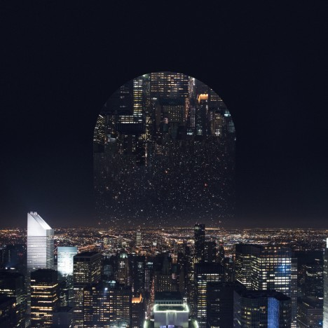reflected cityscape at night