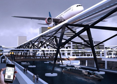 urban raised airplane take off