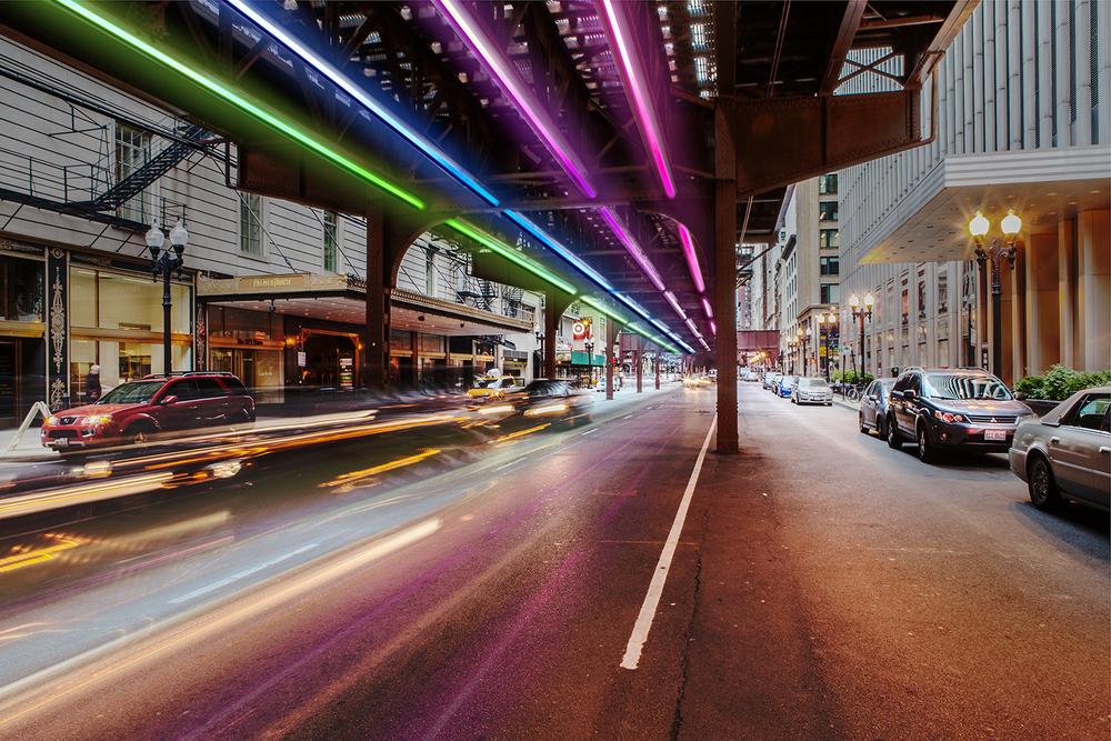 "Cars For Under 5000 >> Rainbow Rail: 5,000 Neon Lights to Line Underside of Chicago ""L"" | Urbanist"