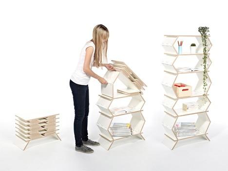 compact apartment accordion shelves
