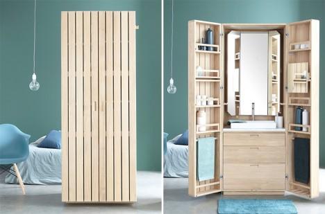 compact apartment bathroom in a box
