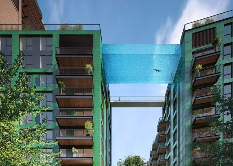 Sky Swimming: Transparent Pool Bridges Two 10-Story Buildings
