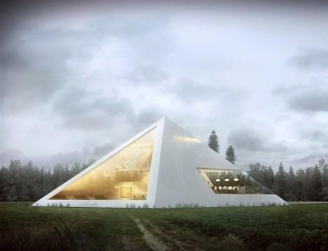 spaceship pyramid house