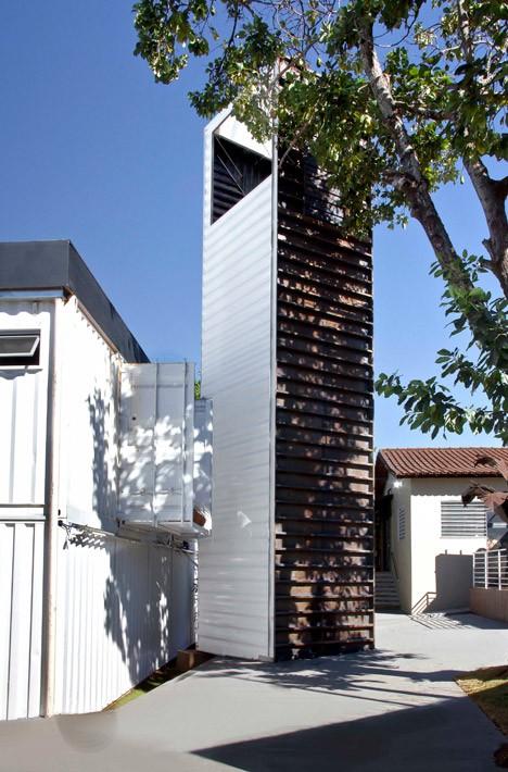 cargo container building adjacent