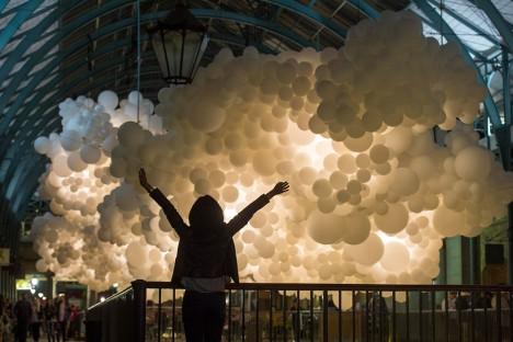 cloud art white balloons