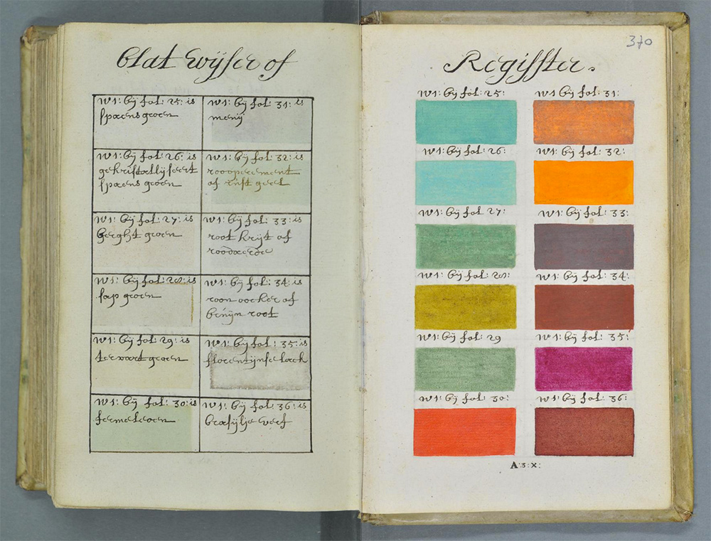 proto pantone 800 page color palette guide book hand drawn in 1600s urbanist - Colors Book