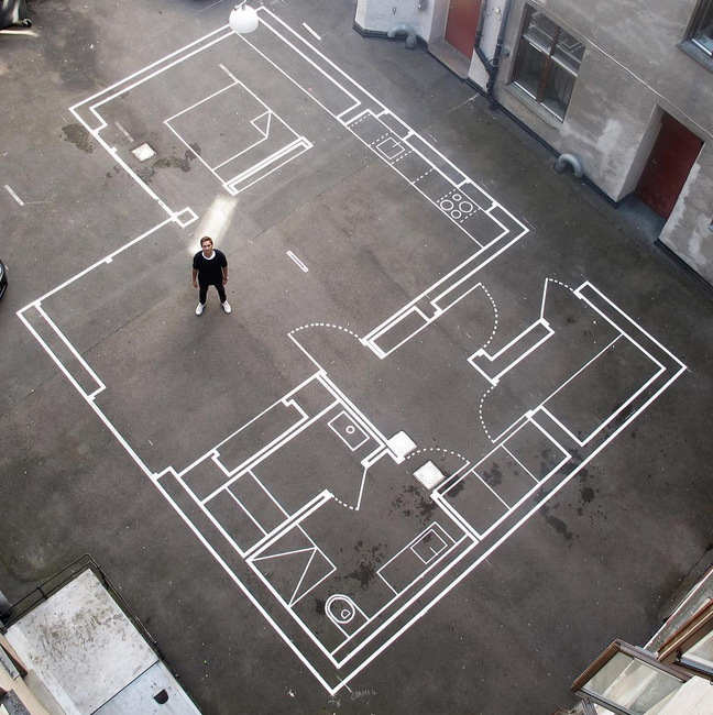 drawn up architecture firm uses tape for full scale floor