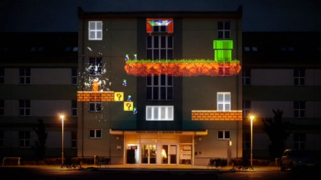 projection mapping 8 bit invader 1