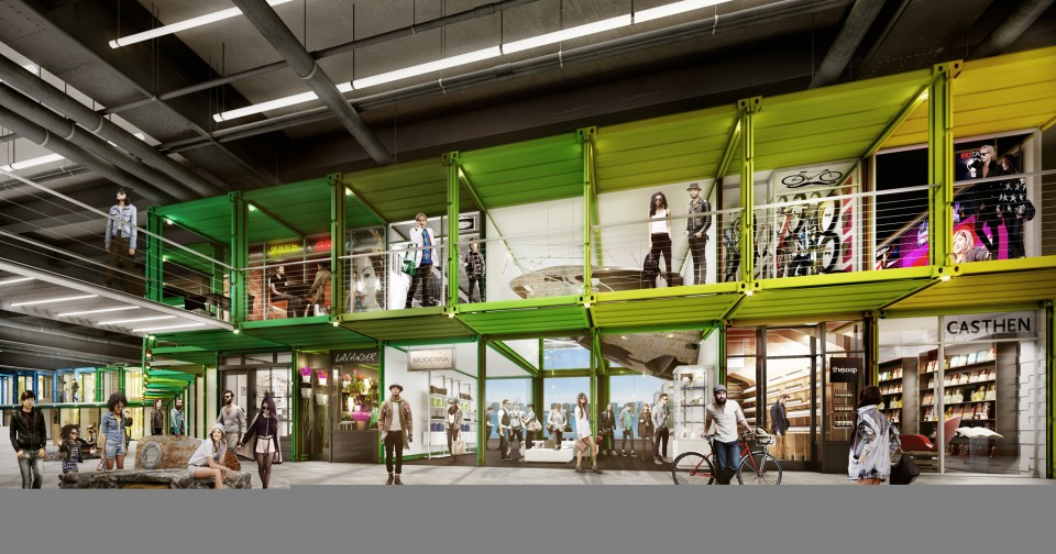 Super Pier Green Roofed Modular Cargo Container Mall For NYC