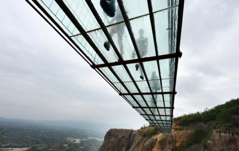 glass panel bridge below