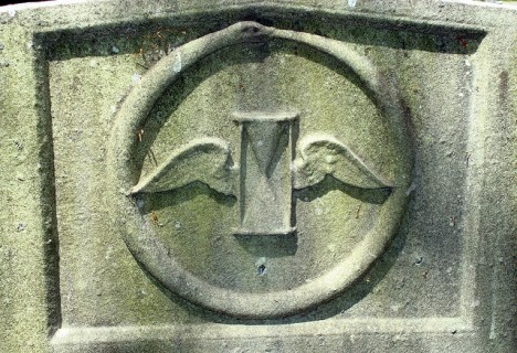 grave symbolism winged hourglass