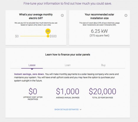 google solar energy savings