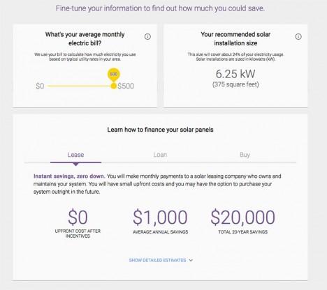 google solar energy savings