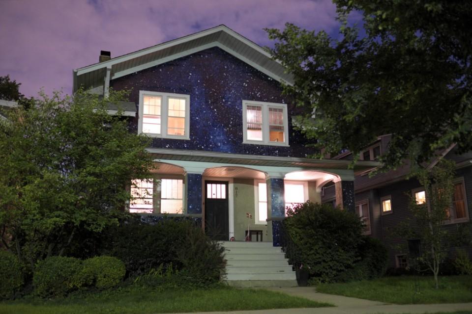 Night House Artist Cloaks Suburban Home Facade In Starry