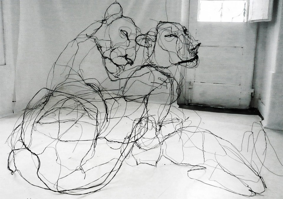3d Line Drawings : Drawing with wire scribbled sculptures make sketches d urbanist