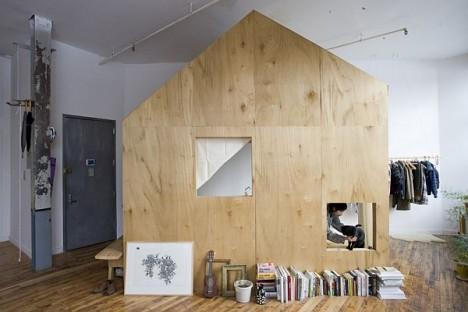wood built in cabin loft 2