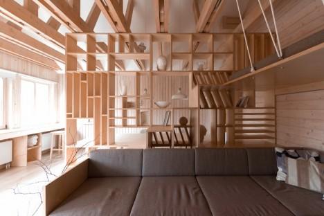 wood built in garage studio