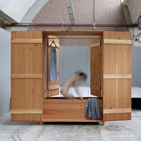 wood built in sauna cabinet