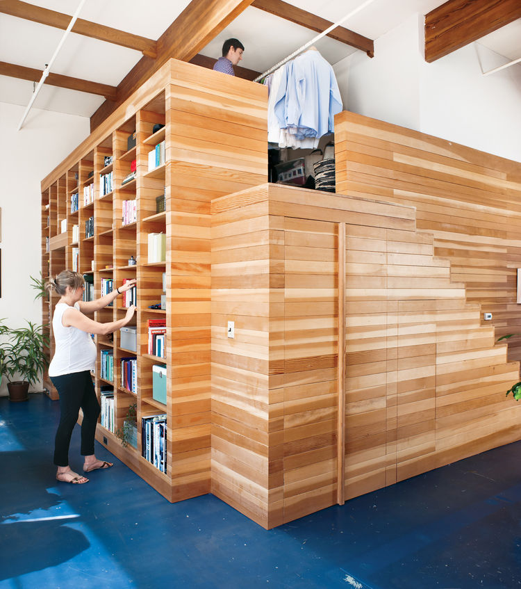 wood bult in bookcase loft