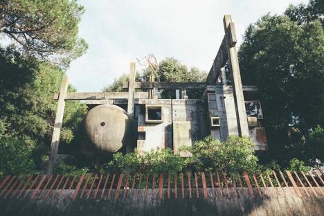 experimental geometric brutalist abode