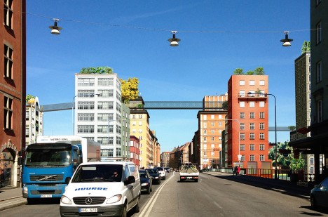stockholm urban aerial walkways